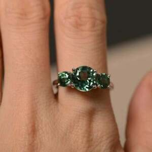 925 Sterling silver Three Green Sapphire Engagement Wedding Statement Gift Ring