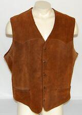 Vintage PIONEER WEAR Vest Mens 50 XXL Leather Suede Shearling Western Cowboy