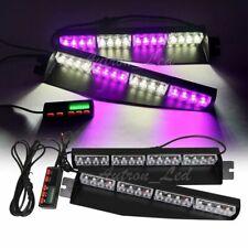 """34"""" 32W LED Purple White Emergency Warning Strobe Visor Split Deck Dash Lightbar"""