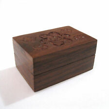 Hand Carved Flowers Wooden Wood Trinket Pill Box