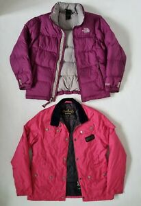 Girls Pink Barbour & Purple NorthFace Jackets X2 Age 10-11 years