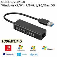 Adaptateur réseau USB 3.0 vers Ethernet RJ45 Lan Gigabit pour Nintendo Switch