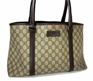 Authentic GUCCI Shoulder Tote Bag GG PVC Leather Brown 59018200aa