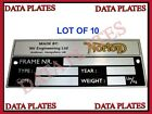 10X of Norton Commando Roadster Atlas Dominator Interstate N15 P11 Data Plate