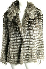 INOCHI Gray & White Striped Feathered Fox Fur Shawl Collar Coat 38