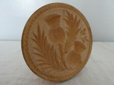 More details for kitchenalia vintage scottish double thistle carved wood butter stamp mould print