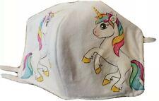 1 Mascherina Copri Viso Unicorno Stampata Bambini Cotone Tnt