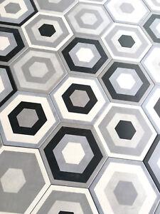 10.2 x11.4 Mama Mia Hexagon Gris Porcelain Tile Floor and Wall (BOX OF 9)