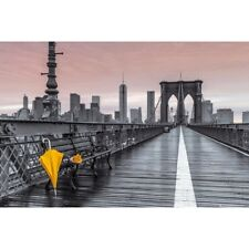 "BROOKLYN BRIDGE POSTER - YELLOW UMBRELLA FLOWERS ART - 91 x 61 cm 36 x 24"""