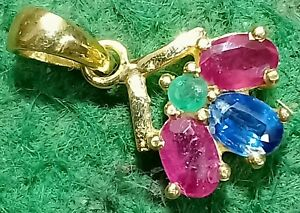 Emerald,Ruby Gemstone 14k Yellow gold Natural Sapphire Gems Gold Plated Pendants