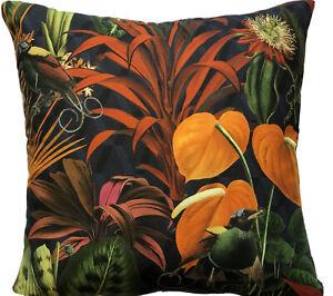 Deep Jungle Cushion Cover Orange Anthurium Tailflower Blue Green Bird Botanical
