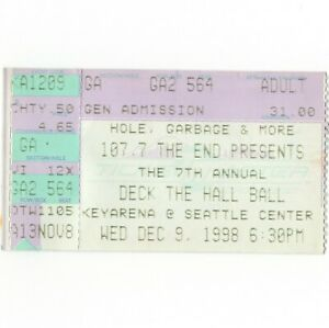 GARBAGE & ELLIOTT SMITH & HOLE Concert Ticket Stub SEATTLE 12/3/98 DECK THE HALL