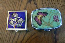 2 Small Pill Boxes Enamel Bird Butterflies Mirror Liners Free Us Ship
