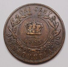 1865 Newfoundland Large Cent VF+ HIGH Grade 1st Queen Victoria KEY Nfld. Penny
