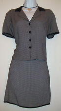 Copper Key Black Checkered 2 Piece Business Dress Suit Size Top Large, Skirt 9