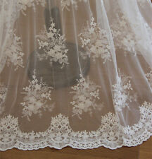 "51""  Cotton Embroidery Bridal Lace Fabric White  Wedding Tulle Lace 1/2 Yard"