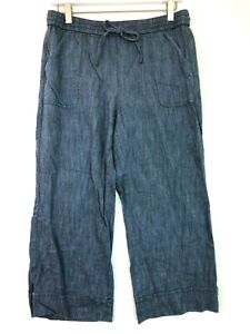 Loft cropped drawstring cuffed blue knit chambray pants size medium petite mp