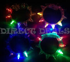 12 PCS Light Up LED Spike Bracelets Flashing Strobe Blinking Rave EDC Party Club
