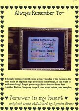 Cross Stitch Chart - Forever in My Heart - Always Remember To