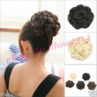 Women's Hair Buns Scrunchies Big Flower Hairpiece Curly Updos Chignon Synthetic