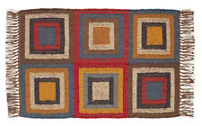 New Rustic Lodge South Western Country WOOL COLOR BLOCK RUG Floor Area Mat