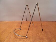Vintage Siver Mid Century Wire Metal Plate Picture Book Art Holder Stand Shelf