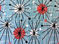 RPFCHE03E Retro Atomic Era Star Sputnik Starburst MCM Modern Cotton Quilt Fabric