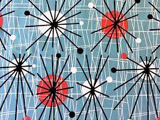 RPFCHE03W RARE Retro Atomic Era Sputnik Starburst MCM Modern Cotton Quilt Fabric