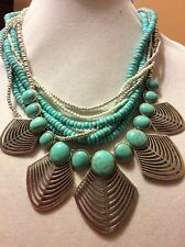 $85 Lucky Brand Semi Precious Turquoise Beaded Necklace #L129