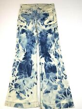 7 For All Mankind Ginger Flare Jeans Blue Tie Dye Womens 26