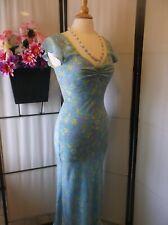 New listing Vintage Tova-Celine silk dress blue/pastel print; bias cut S/M old Hollywood Euc