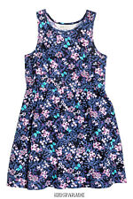 NEW GIRLS H&M SUMMER DRESS AGE 2-4, Blue Floral butterfly  print, 100% cotton