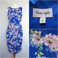 PHASE EIGHT Blue Floral Print Dress UK 12 Stretch Wedding Races Summer Wiggle