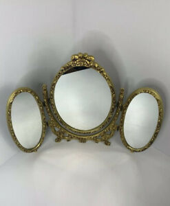 Vintage MCM Gold Italian Tri-Fold Table Top Vanity Mirror