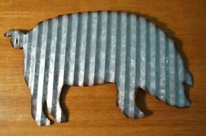 PIG CORRUGATED METAL SCULPTURE SIGN Rustic Country Primitive Kitchen Home Decor