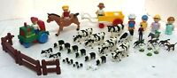 ERTL Large Farm Country animals Cows lot & PLAYMATES People Tractor Wagon 40 Pcs