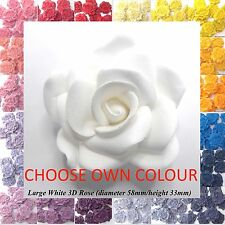 1 Large 3D Sugar Rose wedding cake decorations 58mm NON-WIRED/ CHOOSE OWN COLOUR