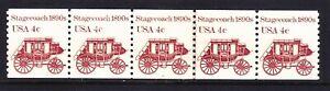 US 1898A MNH 1982 4¢ Stagecoach PNC Strip of 5 Plate #4 Line