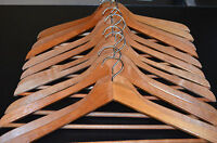 Set 12 Vintage Dark Brown Wooden Clothes Hangers Curved Suit Skirt Pant Shirt