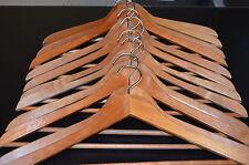 Set 12 Vintage Dark Brown Wooden Clothes Hangers Curved Suit Skirt Pant Shirt