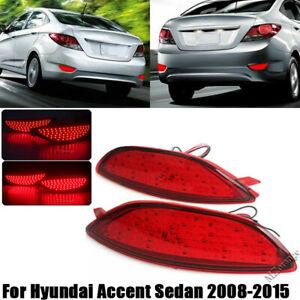 LED For Hyundai Accent Sedan 2008-13 14 2015 Rear Bumper Reflector Light Brake