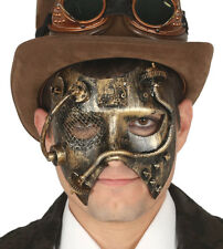 Mens Gold Steampunk Mask Victorian Gothic Fancy Dress Masquerade Accessory