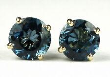 London Blue Topaz, 14KY Gold Post Earrings, E112