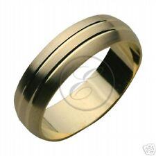 Design 18ct comoda in oro giallo Fede nuziale 6mm doppio con scanalature anello