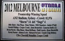 Melborne Storm 2012 Grand Final Squad Silver Plaque Free Postage