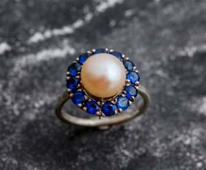 14K Gold Plated Peral and Blue Sapphire Flower Halo Ring Victorian Pearl Ring