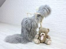 Genuine silver grey icelandic double sheepskin rug curly fur #140