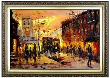 Framed Quality Hand Painted Oil Painting Impression Old European Street 24x36in