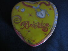 Brighton empty yellow heart tin  lock key dent scratch