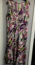 Ladies M&S Linen Dress  14R  ( CALF LENGHT)  Floral.  HARDLY WORN CLEAN COND
